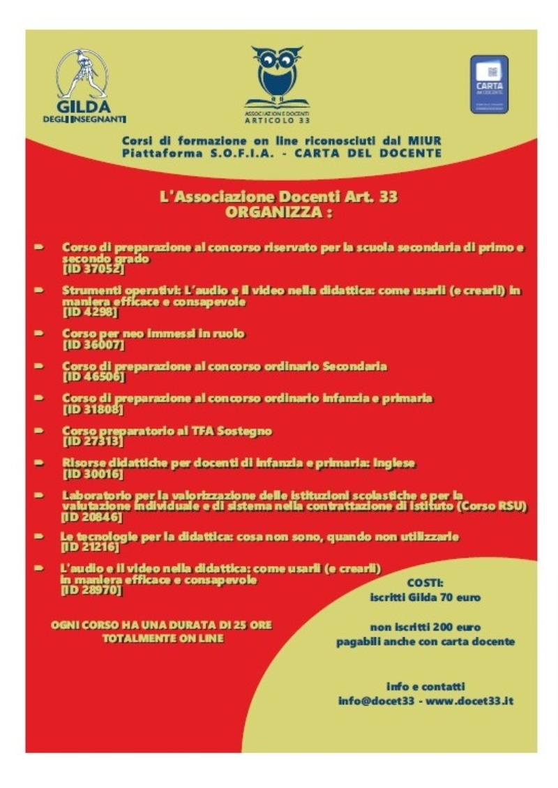 Corsi di formazione online – Associazione Docenti Art. 33